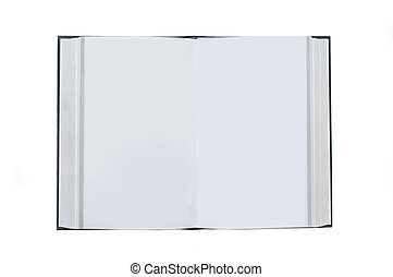 Opened book with blank white pages isolated on white