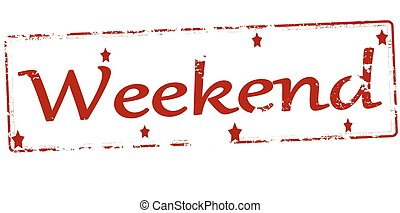Weekend - Rubber stamp with word weekend inside, vector...
