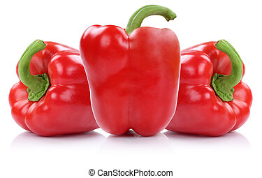 Red paprika paprikas vegetable isolated on white - Red...
