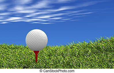 Golf ball on tee - Golf ball on red tee, with grass and sky...