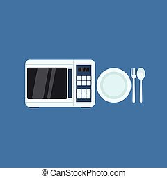 Microwave Oven And Plate Primitive Graphic Style Flat Vector...