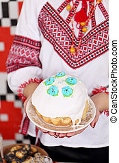 Traditional easter cake kulich Ukrainian Russian style with...