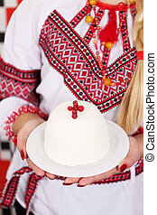 Traditional Curd Easter dessert with cranberries Ukrainian...