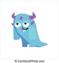 Blue Childish Monster With Horns