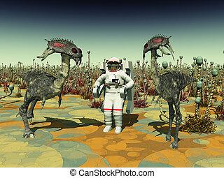 extraterrestre, vida, y, astronauta,