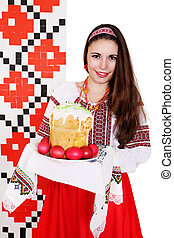 Ukrainian near table with snacks - Ukrainian near...
