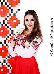 woman in the national costume - woman in the Ukrainian...