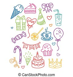 Birthday Party Image Collection Drawn In Thin Colorful Lines...
