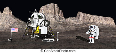 Apollo lunar module and astronaut - Computer generated 3D...
