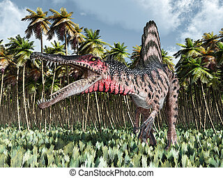 Dinosaur Spinosaurus in the jungle - Computer generated 3D...