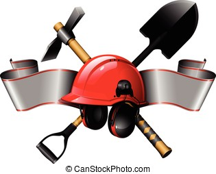 the red helmet with tools and ribbon