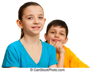 Thoughtful boy and pretty girl - A thoughtful boy and a...