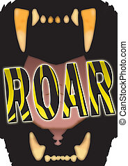 Roar - Illustration of a big cat's gaping mouth with the...