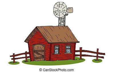 fazenda, casa, moinho de vento