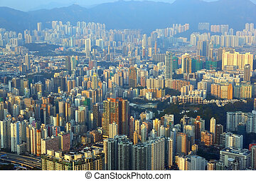 Cityscape of Hong Kong at sunset - Cityscape of Hong Kong in...