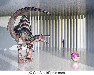 Dinosaur Spinosaurus in the zoo - Computer generated 3D...