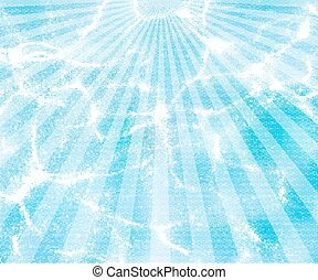water background with sun rays - sunburst blue vector