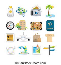 Travel icon set - Illustration of vacation and travel icons