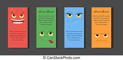 Set of templates with different cartoons emotions and place for text. Template for flyers, invitations, flyers, and your design