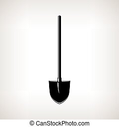 Silhouette of a Shovel ,Garden Equipment - Silhouette of a...