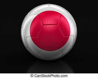 Soccer football with Japanese flag Image with clipping path
