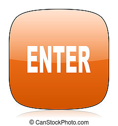 enter orange square web design glossy icon - enter orange...