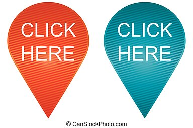Click here vector buttons on white background