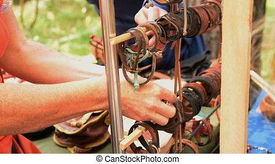 Woman choosing leather bracelet - Woman choosing handmade...