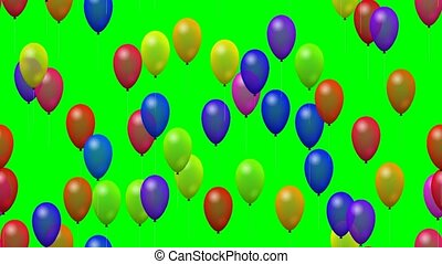 Flying party balloons - Multicolor flying party balloons on...