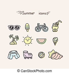 Set of cute summer icons