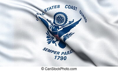 USA Coast Guard flag seamless loop - United States of...