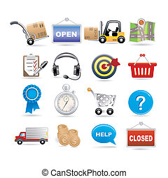 shopping and logistic icon set