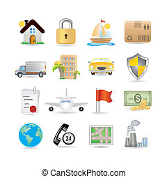 Insurance Icon Set - Illustration of insurance icon set