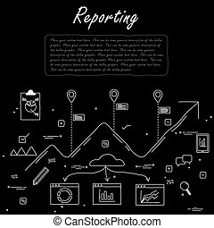 hand drawn line vector doodle of concept of reporting and...
