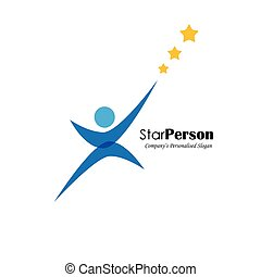 vector logo icon of person aiming for stars also represents...