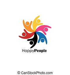 vector logo icon of celebration of people in circle. also...