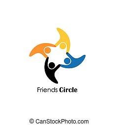 vector logo icon of happy people having fun. also represents...