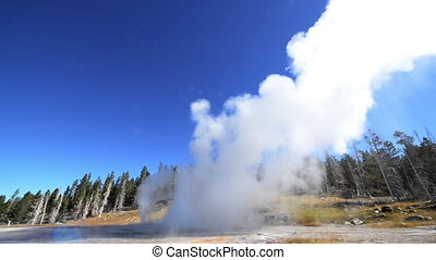 Grand Geyser Eruption - View of Grand Geyser erupting in...