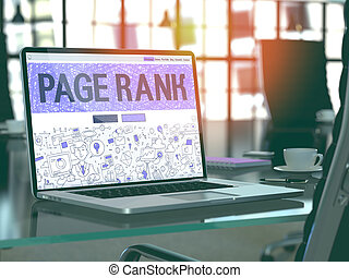 Page Rank on Laptop in Modern Workplace Background.