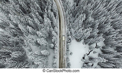 Snowy Road with a Car in the Forest - Aerial view of a snowy...