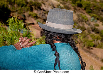 A Old Farmer Woman In the andes Peru