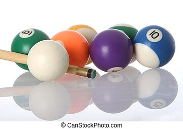 Poll Balls and Cue - Pool balls and end of cue with...