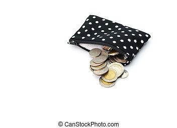 Bag coins isolated on white background