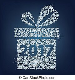 Gift present with 2017 made up a lot of diamonds
