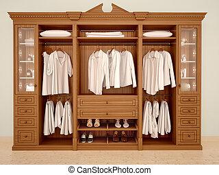 clásico, accesorios, Ilustración, madera, guardarropa, 3D,...