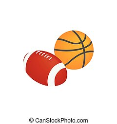 Basketball ball and rugby ball icon