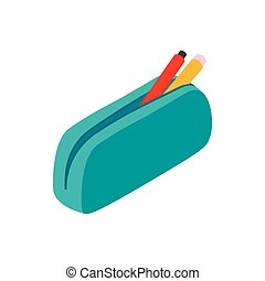 Blue pencil case icon, isometric 3d style - Blue pencil case...