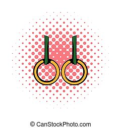 Gymnastic rings icon, comics style - Gymnastic rings icon in...