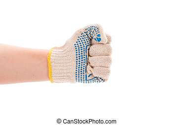 Worker hand glove clenching fist Isolated on a white...