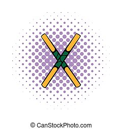 Wooden sword bokken icon, comics style - Wooden sword bokken...